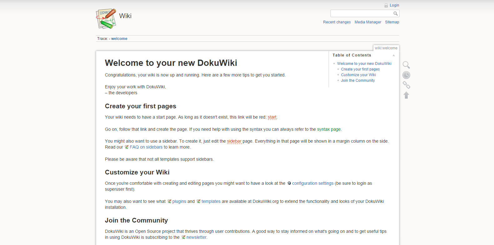 dokuwiki welcome