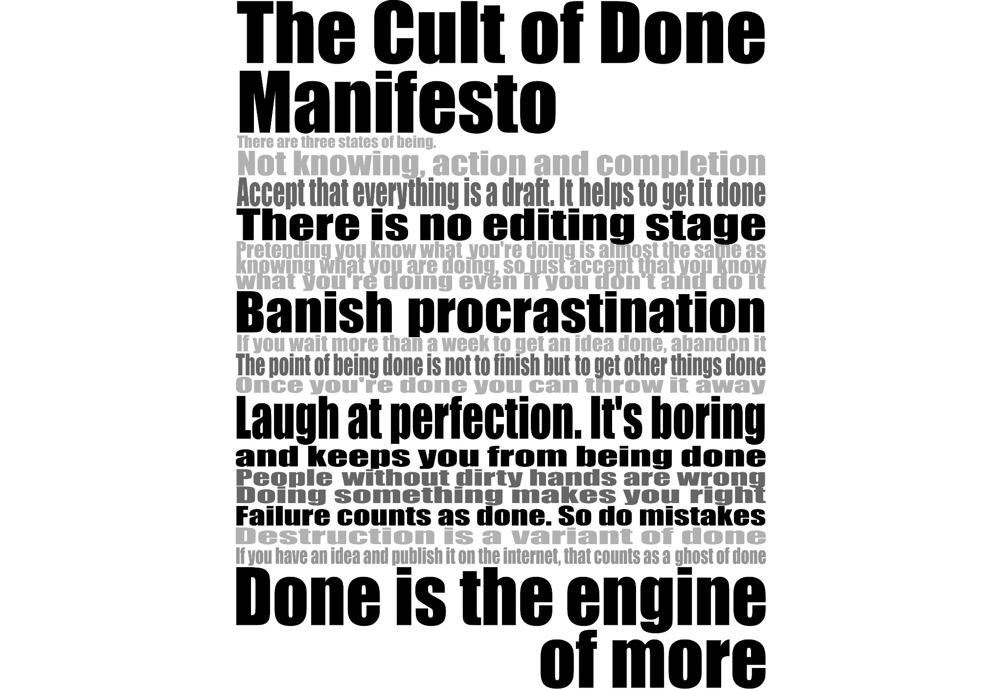 Cult of Done Manifesto by Joshua Rothhaas