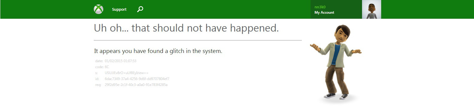 XBox Live Support is Uh Oh