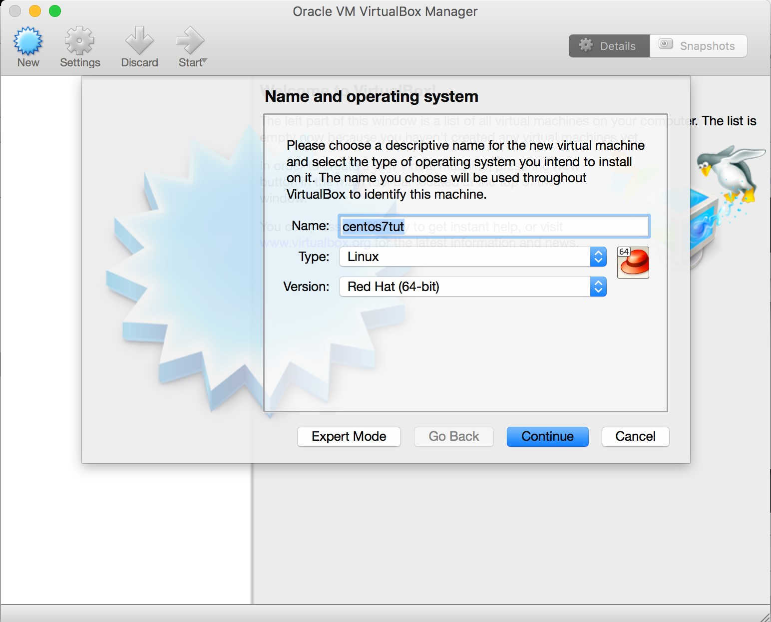 Specify Name and Operating System