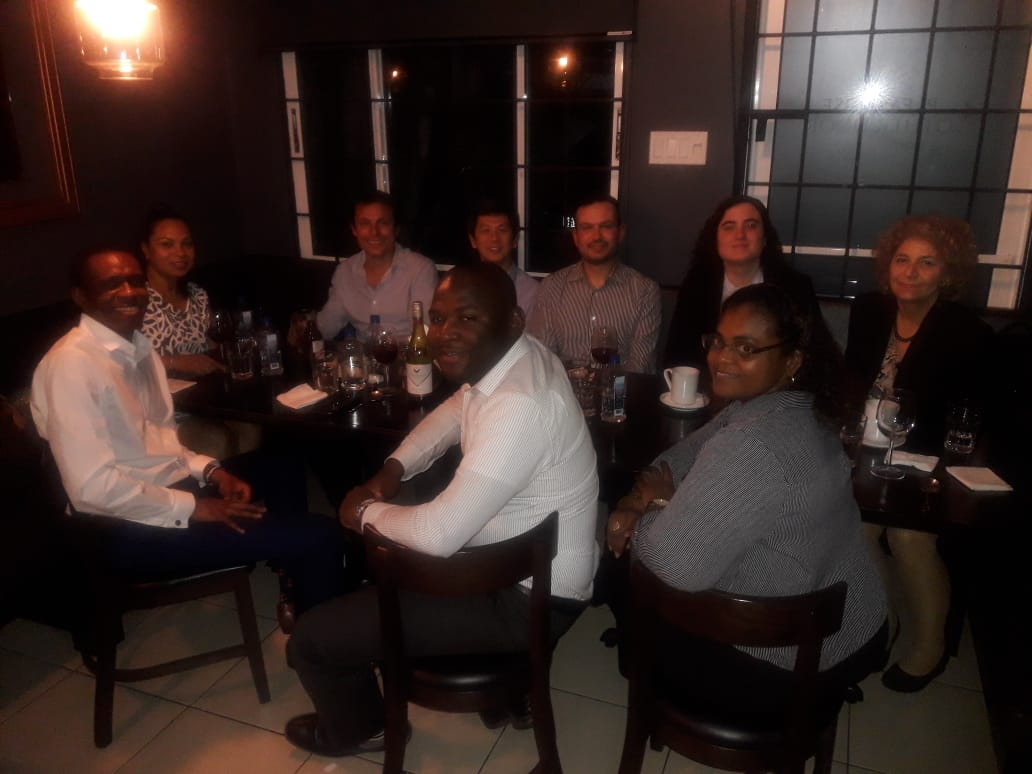 Photo with some of the bid team (Nneko, Phillip, Nicola, Mariana, Soraia, Jose, Zeus-Ng, Ashley, Stacey) members at dinner in Jamaica.